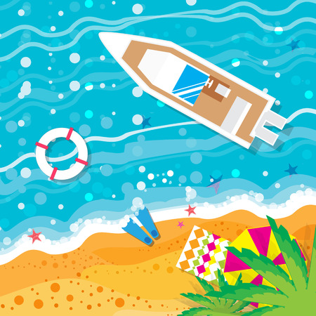 sea view: Top view motor yacht.  Beach rest.  Summer vacation. Time to travel. Sea, waves, sand and umbrella, palm. Vector design background and objects illustrations Illustration