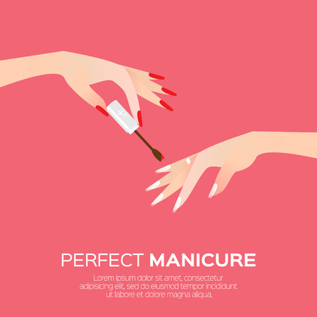 beauty product: Nail art and elegant womens hand. Salon cosmetic concept. Beauty product.  Nail health banner. Nail design polish, manicure tools. Vector illustration on blue background