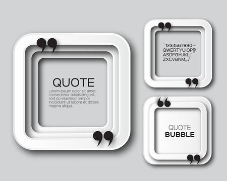 Origami Quote Place bulle. Applique Citation Empty zone de texte modèle. coupe de papier Citation vierge. Vector illustration de conception.