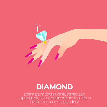 women's hand: Wedding Ring with a big shining diamond on graceful womens hand. Wedding concept. Marriage proposal. Design vector illustration. Illustration