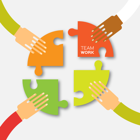 Four hands together team work. 4 Hands putting circle puzzle pieces. Teamwork and business concept. Hands of different colors, cultural and ethnic diversity. Vector illustration