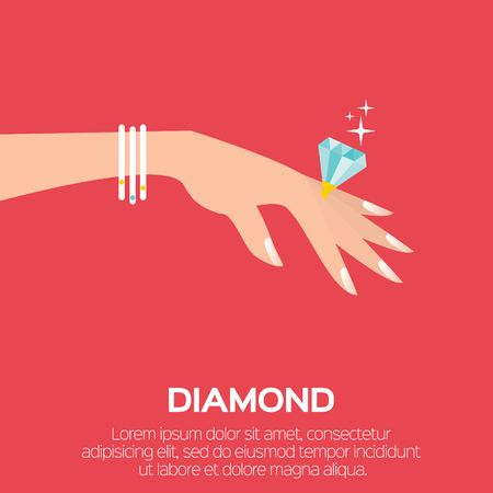 wedding ring: Wedding Ring with a big shining diamond on graceful womens hand. Wedding concept. Marriage proposal. Design vector illustration. Illustration