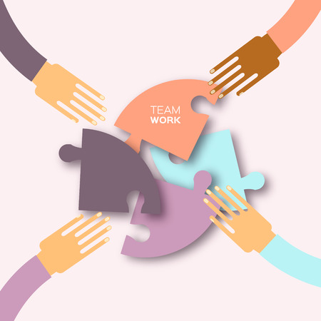 cultural diversity: Four hands together team work. 4 Hands putting circle puzzle pieces. Teamwork and business concept. Hands of different colors, cultural and ethnic diversity. Vector illustration
