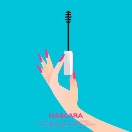 beauty product: Black  mascara wand and elegant womens hand. Cosmetic concept. Beauty product. Design vector illustration. Illustration