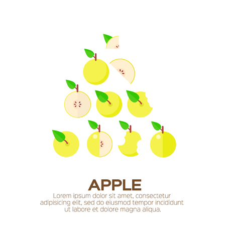 yellow apple: Summer set of yellow Apple. Whole and cut half healthy apple fruits. Vector illustration