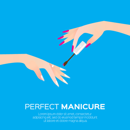 Nail art and elegant womens hand. Salon cosmetic concept. Beauty product.  Nail health banner. Nail design polish, manicure tools. Vector illustration on blue background