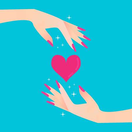 hand hold: Pink heart. Elegant womens hand. Celebration concept. Vector illustration style.