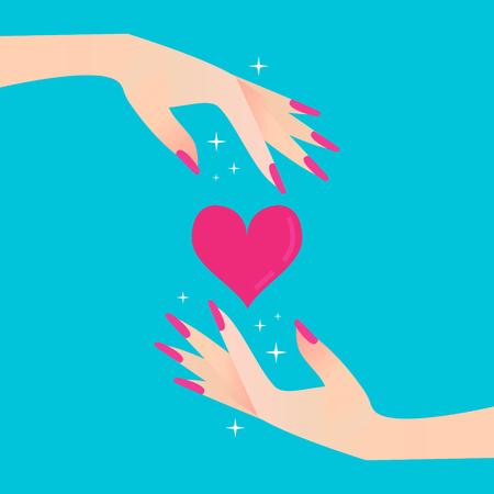 women's hand: Pink heart. Elegant womens hand. Celebration concept. Vector illustration style.