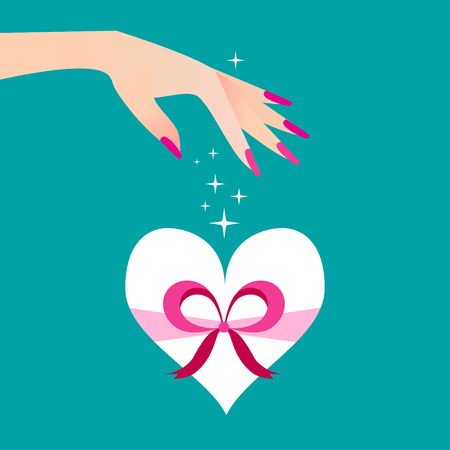 women's hand: White heart gift box with ribbon and bow. Elegant womens hand. Celebration concept. Vector illustration style.