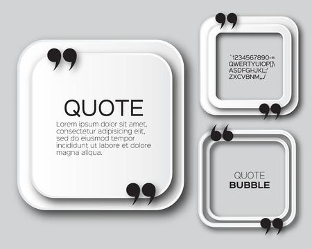 citation: Origami Square Quote bubble. Applique Empty Citation text box template. Paper cut Quote blank. Vector design illustration.