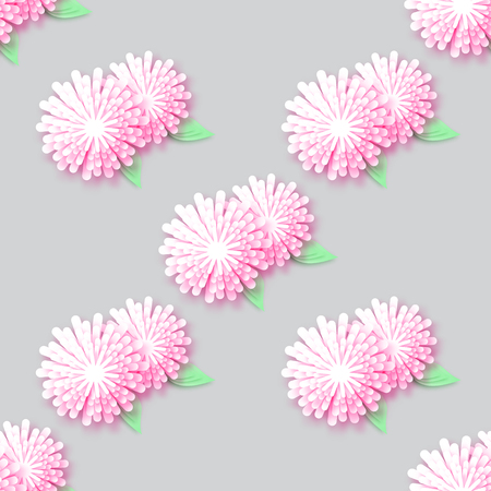 cut flowers: White Pink Origami Floral seamless pattern on grey background. Paper cut flowers with leaves. Trendy Design Template Vector illustration. Illustration