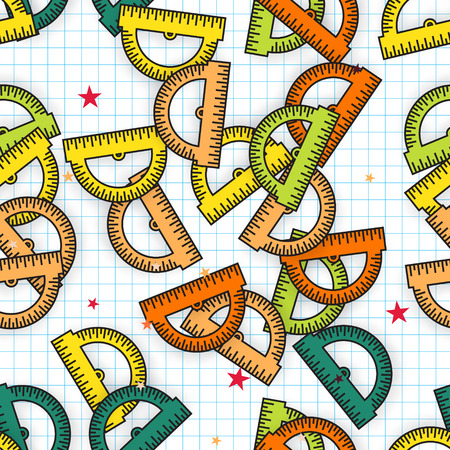office supply: Colorful Protractor Ruler background. Back to school symbol. Seamless pattern Office Supply Objects. Vector illustration.