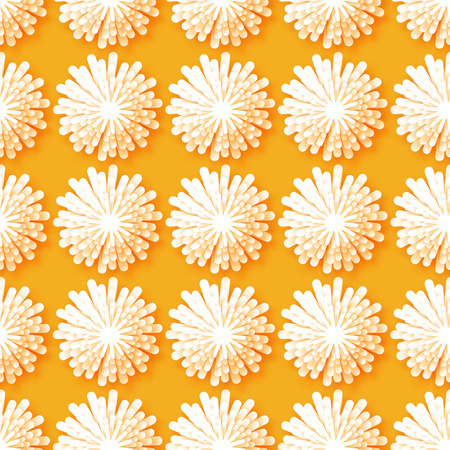 cut flowers: White Origami Floral seamless pattern on orange background. Paper cut flowers with leaves. Trendy Design Template Vector illustration. Illustration
