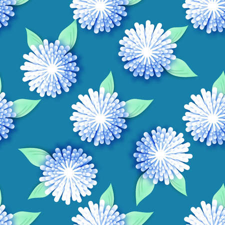cut flowers: White Blue Origami Floral seamless pattern on blue background. Paper cut flowers with leaves. Trendy Design Template Vector illustration. Illustration