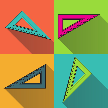 Colorful triangle Ruler icon. Back to school symbol. Office Supply Objects. Flat Vector illustration.