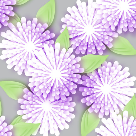 cut flowers: Beautiful white Origami Floral bouquet on grey background. Paper cut flowers with leaves. Trendy Design Template Vector illustration.