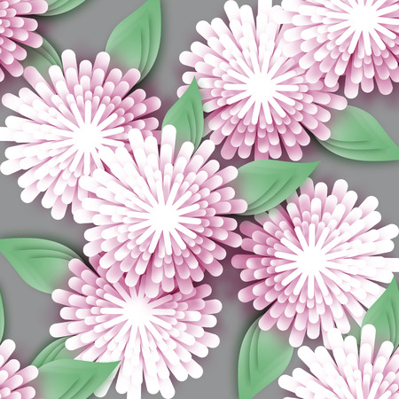 Beautiful white  Origami Floral bouquet on grey background. Paper cut flowers with leaves. Trendy Design Template Vector illustration.