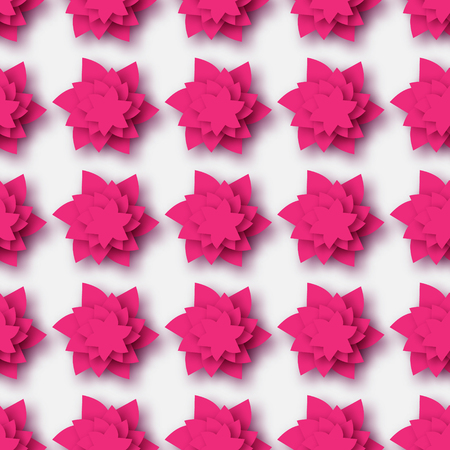 cut flowers: Pink Origami Floral seamless pattern on grey background. Paper cut flowers with leaves. Trendy Design Template Vector illustration. Illustration