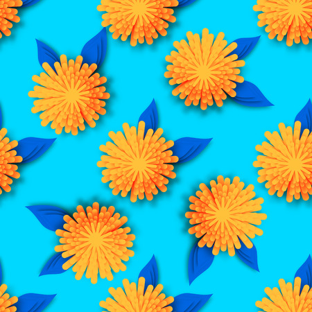 cut flowers: Orange Origami Floral seamless pattern on blue background. Paper cut flowers with leaves. Trendy Design Template Vector illustration.