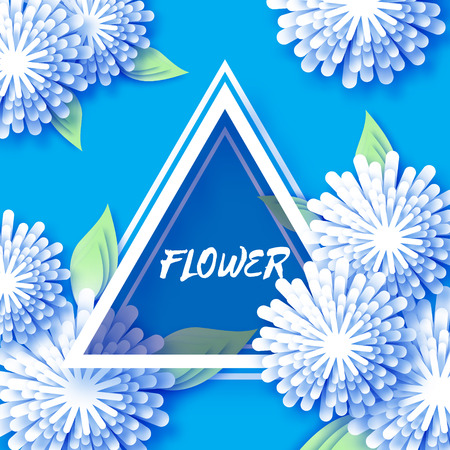 White Blue Origami Floral Greeting card. Holiday background with paper cut triangle Frame Flowers. Happy Mothers and GrandMothers Day. Trendy Design Template. Vector illustration.