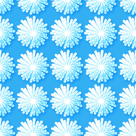cut flowers: White Origami Floral seamless pattern on blue background. Paper cut flowers with leaves. Trendy Design Template Vector illustration.