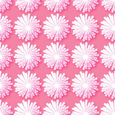 cut flowers: White Origami Floral seamless pattern on pink background. Paper cut flowers with leaves. Trendy Design Template Vector illustration.