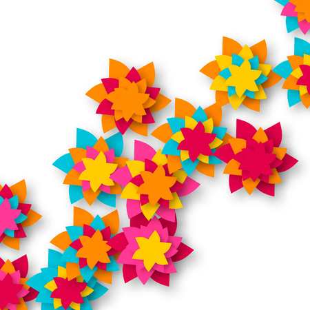 cut flowers: Beautiful Colorful Origami Floral bouquet on white background. Paper cut flowers. Trendy Design Template Vector illustration.