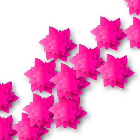 cut flowers: Beautiful Pink Origami Floral bouquet on white background. Paper cut flowers. Trendy Design Template Vector illustration.
