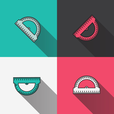 protractor: Colorful Protractor Ruler icon. Back to school symbol. Office Supply Objects. Flat Vector illustration.
