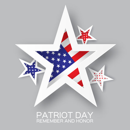 Origami Patriot Day star on grey background. We will never forget. Paper cut Poster Template. Abstract american flag background. September 11, 2001. Vector illustration