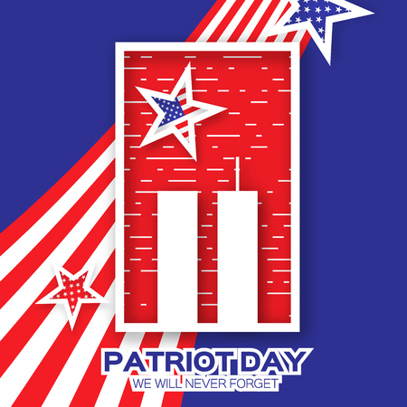 tribute: Origami Patriot Day on blue background. Twin Tower with rectangle frame. Abstract american flag. Stars and stripes. We will never forget. September 11, 2001. Vector illustration. Poster Template.