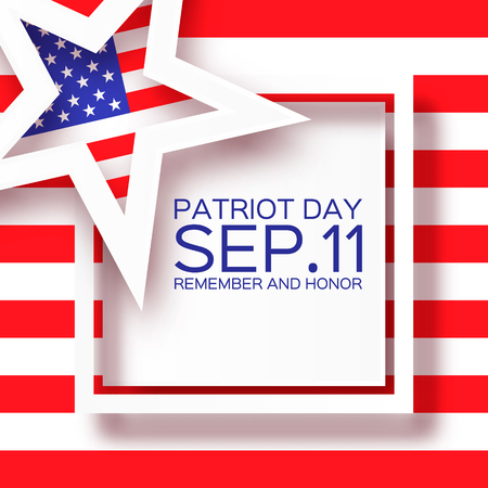 patriotic background: Origami Patriot Day background with star. We will never forget. Paper cut Poster Template. Abstract american flag background. September 11, 2001. Vector illustration