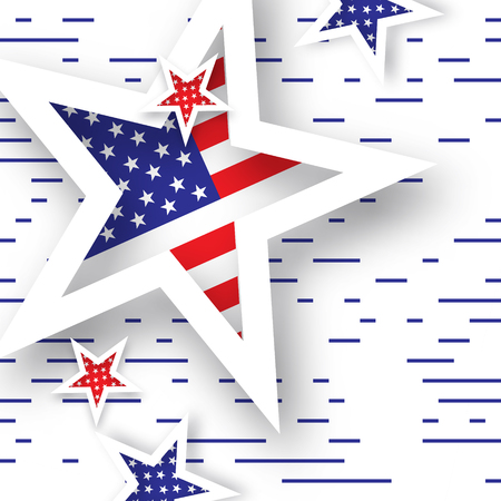 tribute: Origami Patriot Day background with stars and lines. Abstract american flag. Vector illustration. Poster Template.