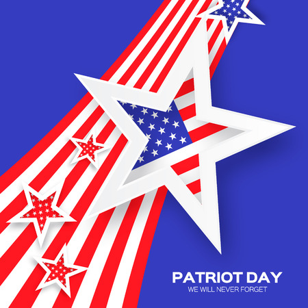 Origami Patriot Day on blue background with stars and stripes. Abstract american flag. We will never forget. September 11, 2001. Vector illustration. Poster Template.