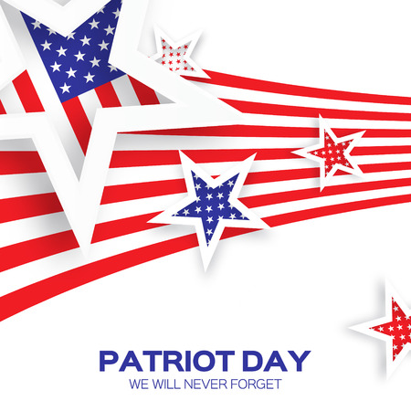 tribute: Origami Patriot Dayon white background with stars and stripes. Abstract american flag. We will never forget. September 11, 2001. Vector illustration. Poster Template. Illustration
