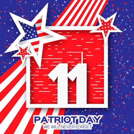 Origami Patriot Day. Twin Tower with square frame on blue background. Abstract american flag. Stars and stripes. We will never forget. September 11, 2001. Vector illustration. Poster Template. Illustration