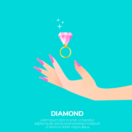 Big shining pink diamond in womans hand. Wedding ring concept. Marriage proposal. Design vector illustration on blue background.