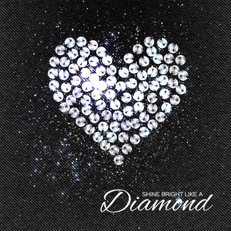 brilliant heart: Heart Brilliant stones on black Denim Texture. Silver applique. Beautiful jewelry brooch with rhinestones. Ornament crystal precious, beadwork, embroidery. Fashion decor print Illustration