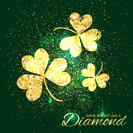 three leaf clover: Gold sparkles clover on green background. Three shining glitter glamour flower. Greeting Card with Gold Textured Three Leaf Clover. Patrick Day concept for banner, flyer. Vector design illustration.