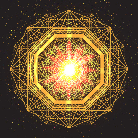 Magic geometry sign. Abstract sacred geometry. Religion, spirituality, occultism. Alchemy mystical symbol on space background. Vector design illustration.
