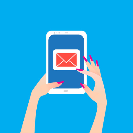 Women's Hand holding smart phone with email symbol on the screen. Message send on mobile phone. Email marketing. Finger touch screen for banner, web site. Flat style vector illustration