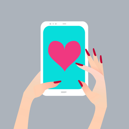finger touch: Womens hand holding smart phone with Heart on screen. Finger touch screen for banner, web site. Colorful Flat style vector illustration