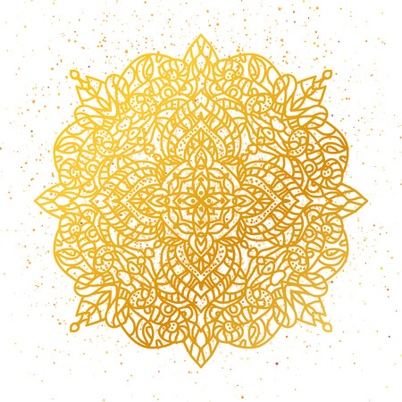Golden foil Floral mandala. Gold ethnic henna ornament pattern. Tribal ethnic arabic Indian motif. Round element for coloring book. Vector design illustration. Illustration