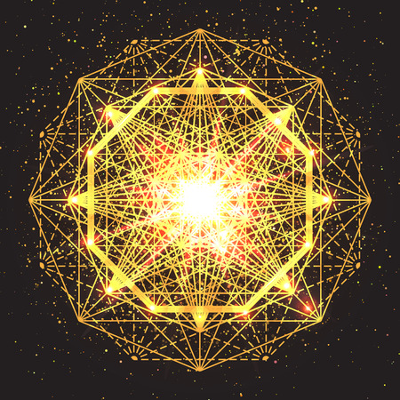occultism: Magic geometry sign. Abstract sacred geometry. Religion, spirituality, occultism. Alchemy mystical symbol on space background. Vector design illustration.