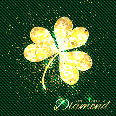 three leaf clover: Gold sparkles clover on green background. One shining glitter glamour flower. Greeting Card with Gold Textured Three Leaf Clover. Patrick Day concept for banner, flyer. Vector design illustration.