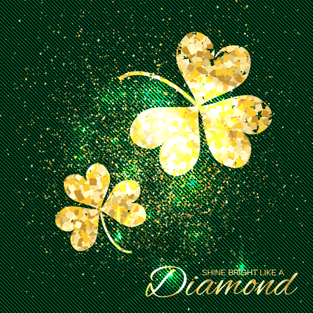 three leaf clover: Gold sparkles clover on green background. Two shining glitter glamour flower. Greeting Card with Gold Textured Three Leaf Clover. Patrick Day concept for banner, flyer. Vector design illustration.
