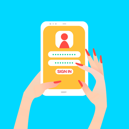 touch screen phone: Hand holding smart phone in womens hand with sign in page on screen. Finger touch screen for banner, web site. Colorful Flat style vector illustration