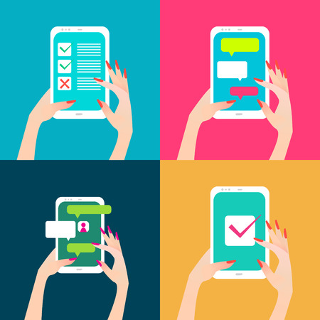 touch screen phone: Womens hand holding smart phone with chat bubbles and checkmark on screen. Finger touch screen for banner, web site. Colorful Flat style vector illustration