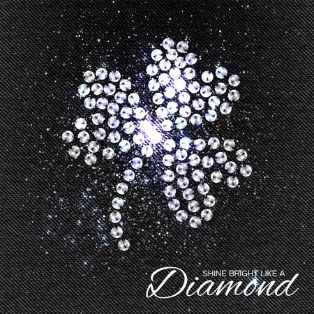 rhinestones: Three Leaf Clover Brilliant stones on black Denim Texture. Silver applique. Beautiful jewelry brooch with rhinestones. Ornament crystal precious, beadwork, embroidery. Fashion decor print.