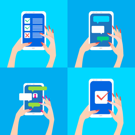 finger touch: Womens hand holding smart phone with chat bubbles and checkmark on screen. Finger touch screen for banner, web site. Colorful Flat style vector illustration